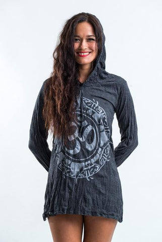 Sure Design Women's Infinitee Ohm Hoodie Dress Silver on Black
