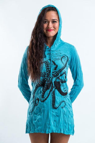 Sure Design Women's Octopus Hoodie Dress Turquoise