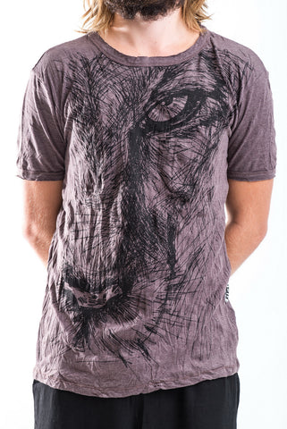 Sure Design Men's Lions Eye T-Shirt Brown