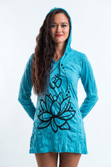 Sure Design Women's Lotus Ohm Hoodie Dress Turquoise