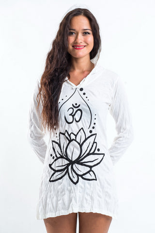 Sure Design Women's Lotus Ohm Hoodie Dress White