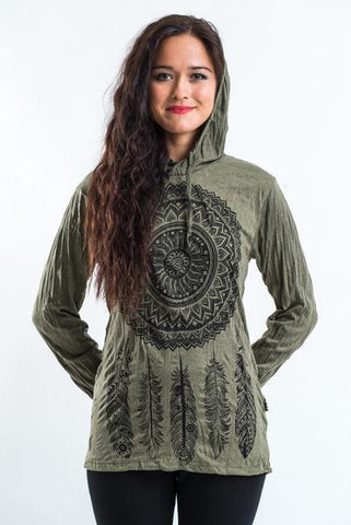 Sure Design Unisex Dreamcatcher Hoodie Green