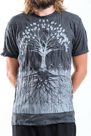 Sure Design Men's Tree of Life T-Shirt Silver on Black