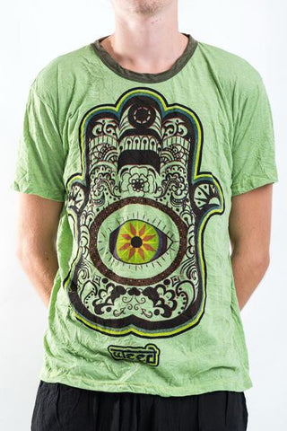 Sure Design Men's Hamsa Eye Power T-Shirt Green