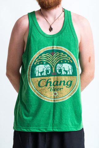Men's Chang Beer Tank Top Green
