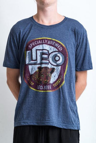 Men's Leo Beer T-Shirt Denim Blue