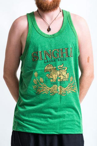 Men's Singha Beer Tank Top Green