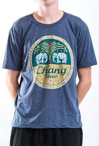 Men's Chang Beer T-Shirt Denim Blue