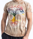 Wholesale Sure Design Tie Dye Men's Tree Of Life T-Shirt Brown - $7.00