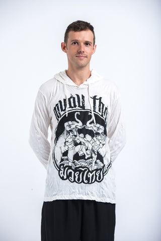 Sure Design Unisex Muay Thai Fighting Hoodie White