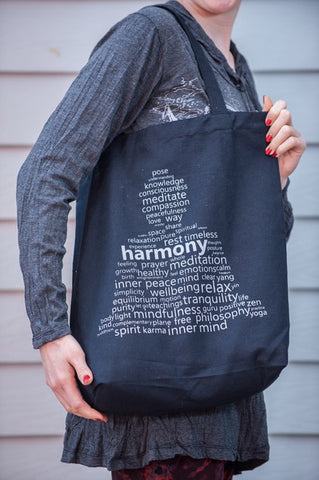 NEW Recycled Cotton Canvas Shopping Tote Bag Harmony Silver on Black