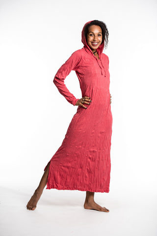 Sure Design Womens Solid Long Sleeve Hoodie Dress Red