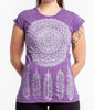 Sure Design Women's Dreamcatcher T-Shirt Silver on Purple
