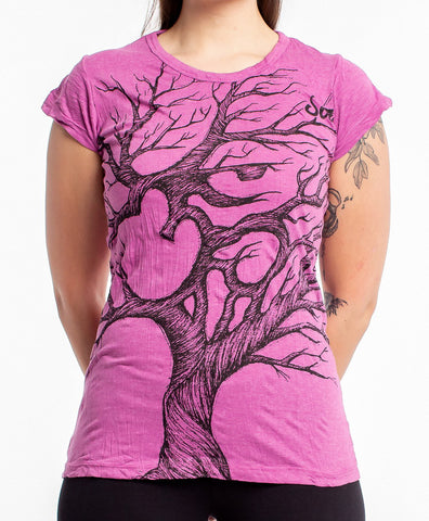 Sure Design Women's Om Tree T-Shirt Pink