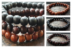 Assorted set of 3 Thai Wooden Mala Bead Elastic Bracelets