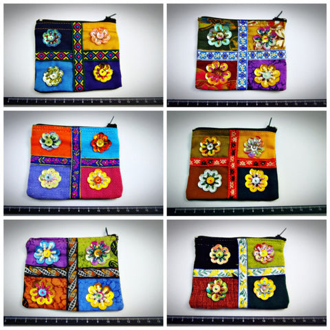 Assorted set of 10 Thai Hand Made Flower Coin Purse