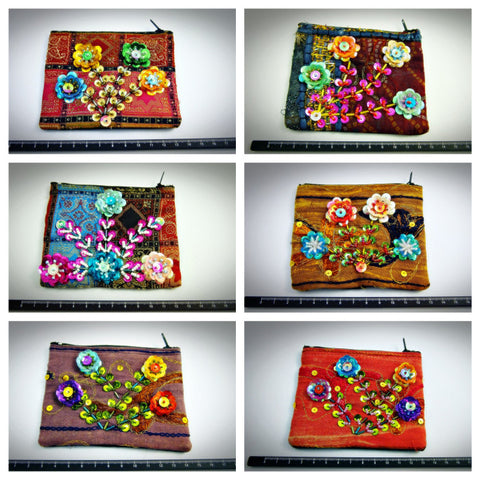 Assorted set of 10 Thai Hand Made Flower Coin Pouch