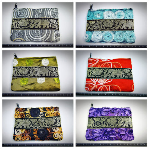 Assorted set of 10 Thai Assorted Silk Coin Pouch BESTSELLER