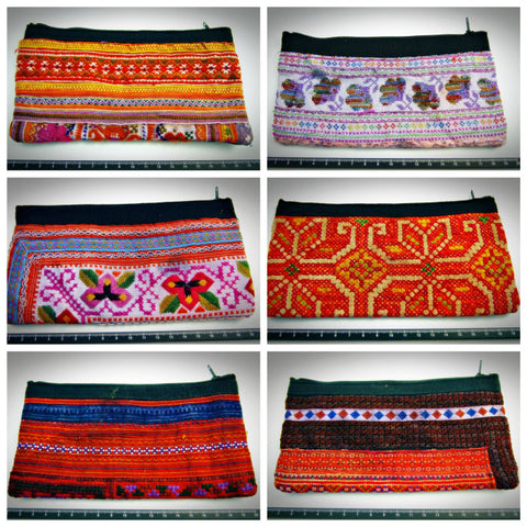 Assorted set of 10 Thai Antique Recycled Fabric Pouches