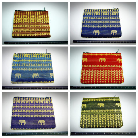 Assorted set of 10 Thai Silk Coin Pouches