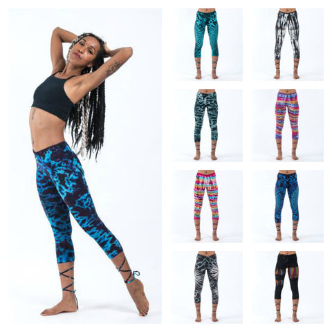 Assorted set of 5 Womens Tie Dye Capri Leggings