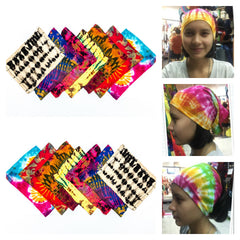 Assorted set of 10 Womens Tie Dye  Cotton Hairbands