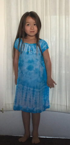 Girls Children's Tie Dye Cotton Dress With Sleeves Beads Blue