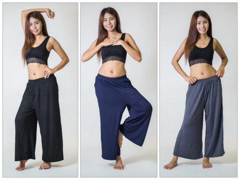 Assorted Set of 5 Women's Solid Color Wide Leg Palazzo Harem Pants