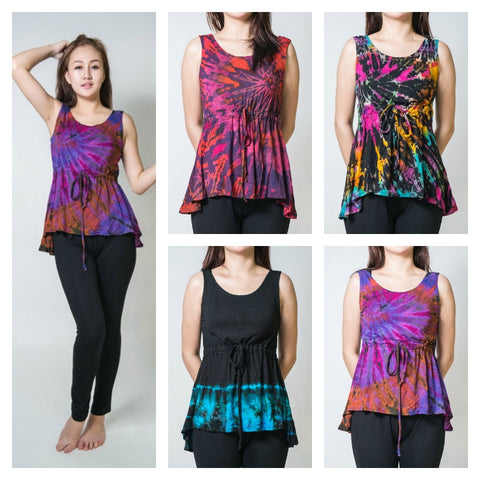 Assorted Set of 10 Sure Design Women Tie Dye Tank Top