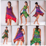 Wholesale Assorted set of 5 Thai Hand Super Soft Tie Dye Yoga Tank Dresses - $40.00
