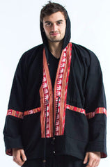 Thai Traditional Unisex Woven Cotton Fabric Hoodies With Delicate Embroidery Black