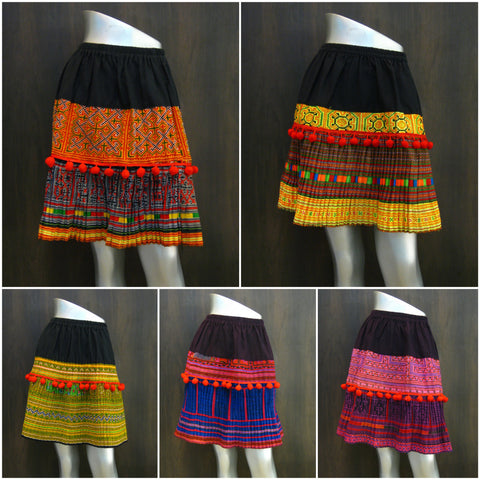 Assorted set of 5 Traditional Thai Hmong Short Skirt