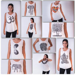 Assorted set of 10 Thai Super Soft Womens White Tank Top