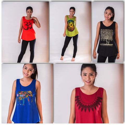 Assorted set of 10 Thai Super Soft Womens Colorful Tank Top