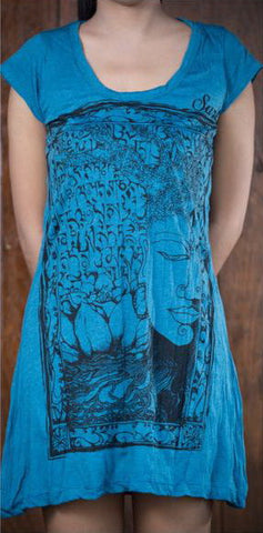 Sure Design Women's Sanskrit Buddha Dress Denim Blue