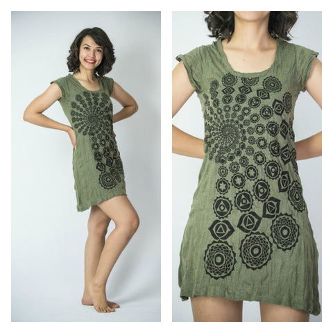 Sure Design Women's Chakra Fractal Dress Green