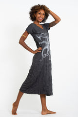 Sure Design Womens Octopus V Neck Tee Dress Silver on Black