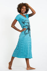 Sure Design Womens Octopus V Neck Tee Dress Turquoise