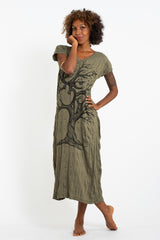 Sure Design Womens Om Tree V Neck Tee Dress Green