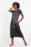 Wholesale Sure Design Womens Om Tree V Neck Tee Dress Silver on Black - $10.00