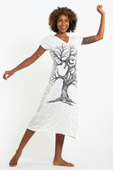 Sure Design Womens Om Tree V Neck Tee Dress White