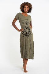 Sure Design Womens Lotus Om V Neck Tee Dress Green