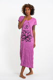 Wholesale Sure Design Womens Lotus Om V Neck Tee Dress Pink - $10.00