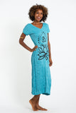 Wholesale Sure Design Womens Lotus Om V Neck Tee Dress Turquoise - $10.00