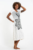 Wholesale Sure Design Womens Sacred Geometry Mandala V Neck Tee Dress White - $10.00