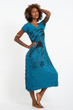 Wholesale Sure Design Womens Magic Mushroom V Neck Tee Dress Denim Blue - $10.00