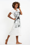 Wholesale Sure Design Womens Magic Mushroom V Neck Tee Dress White - $10.00