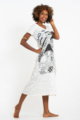 Sure Design Womens Magic Mushroom V Neck Tee Dress White