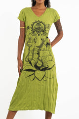 Sure Design Womens Lord Ganesh V Neck Tee Dress Lime