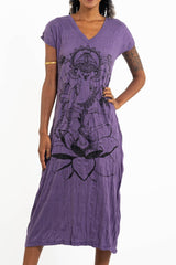 Sure Design Womens Lord Ganesh V Neck Tee Dress Purple